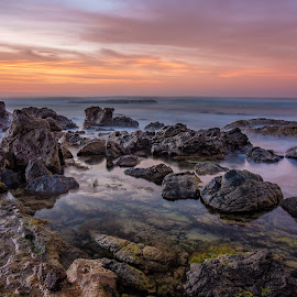 Early Start by Kevin Robley - Landscapes Sunsets & Sunrises ( rockpool, sunrise, seascape, beach, morning )