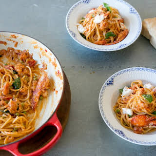 Lobster Pasta with Burrata Cheese.
