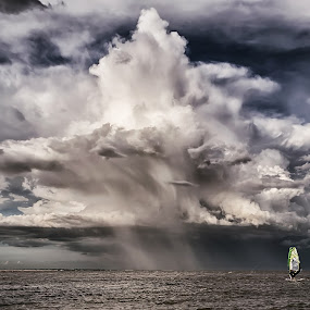 Into the Storm by Dmitriy Yanushevichus - Landscapes Cloud Formations ( clouds, sea, cloudy, weather, seascape, landscape, windsurfer, storm )