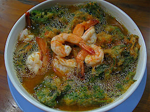 Photo: spicy sour curry with fried cha-om and shrimp (gkaeng som gkoong cha-om gkrawb)