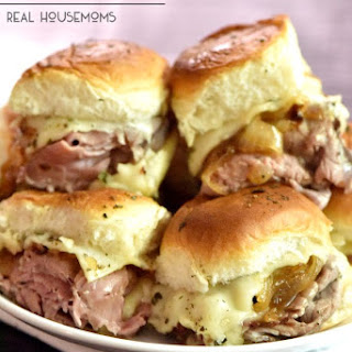 Roast Beef Horseradish Cheese Baked Sliders.