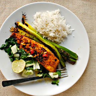 Lime and Fresh Turmeric Salmon with Baked Lime Leaf Rice