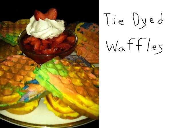 Tie Dyed Waffles With Strawberries And Whip Cream.