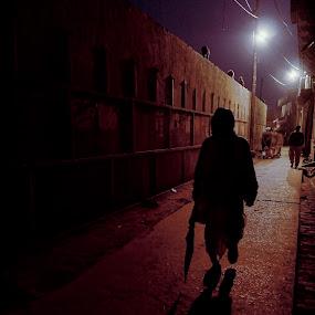 Walking alone!! by Sudhir Chandra - City,  Street & Park  Street Scenes