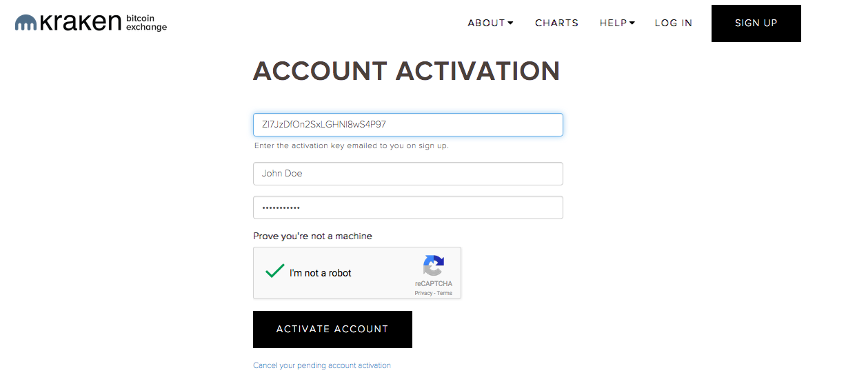 Kraken's account activation form