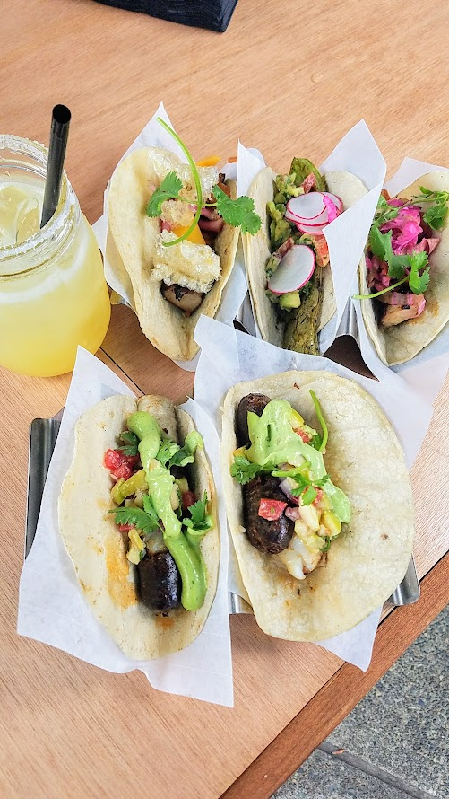 TD's Pop up, this Tacos and Tequila Summer pop up has returned to the South Waterfront of Portland, they offer several tacos including a Halibut + Chorizo combo, Chicken en Achiote, Grilled Nopalito, or Tequila Braised Pork Belly as well as Carnes plates and snacks