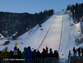 Photo: The largest ski jumping hill in the world, Vikersund HS225, during World Cup 2011