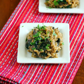 Mushroom and Spinach Risotto with Truffle Oil.