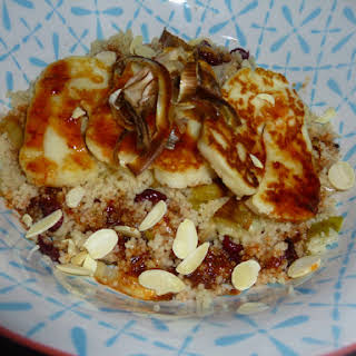 Halloumi on Roasted Leek Couscous with a Harissa Dressing.