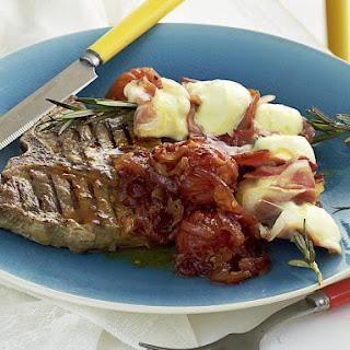 Steak with Smoked Tomato Relish and Bocconcini Skewers.