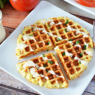 Waffled Cauliflower With Thyme Parmesan And Creamy Lemon Sauce.