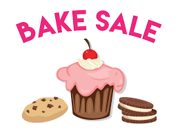 image of cupcake and cookies underneath the words BAKE SALE