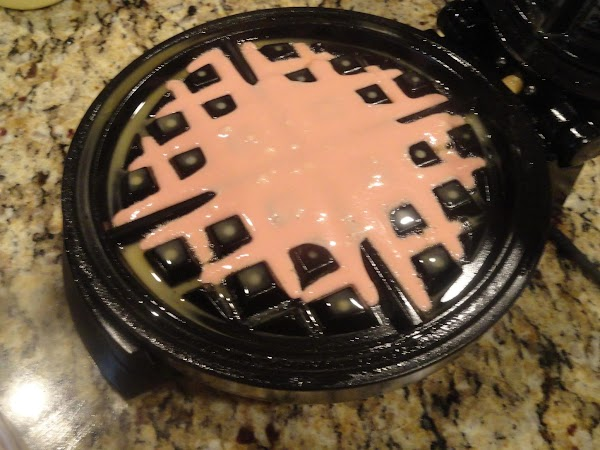 Place about quarter cup mix in waffle iron close and cook for approximately 2min.  Assemble...