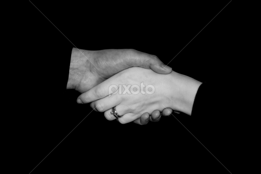 BW Handshake by SumPics Photography - People Body Parts ( hand, black background, pwchandshake, black and white, female, male, pwchandshakes )