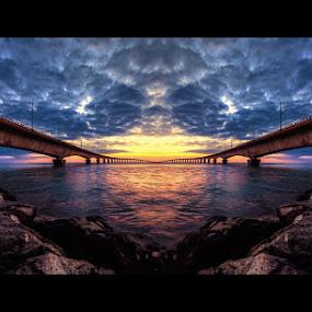 Bridge Symetry by Sebastien Gaborit - Landscapes Sunsets & Sunrises ( bridge sunset symetry )