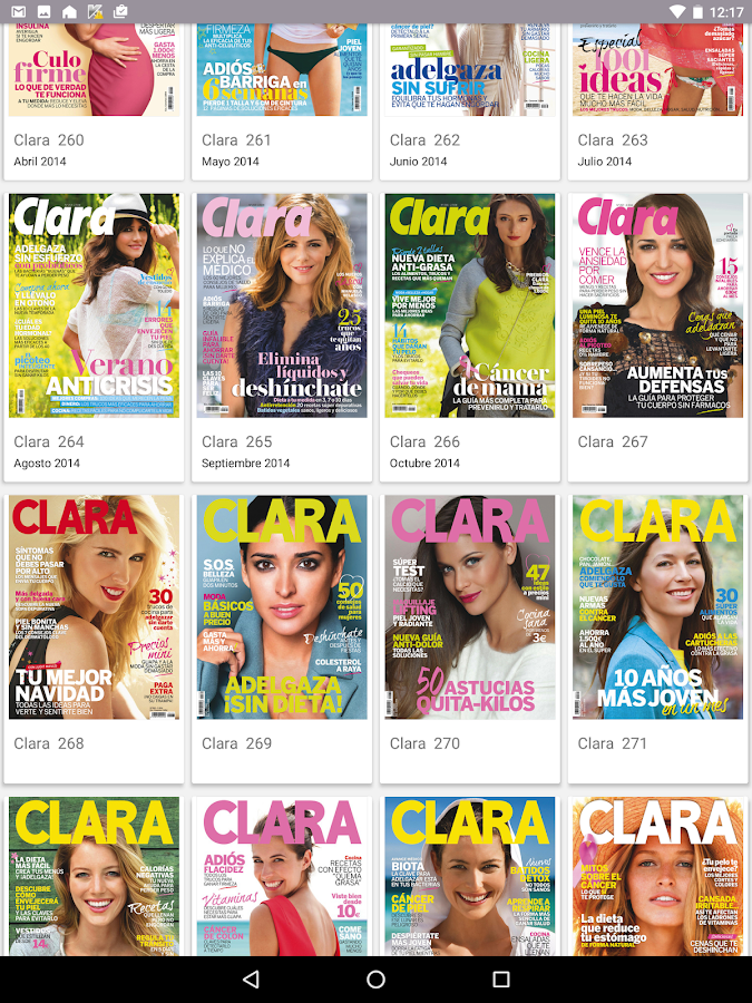 Clara Revista: captura de pantalla