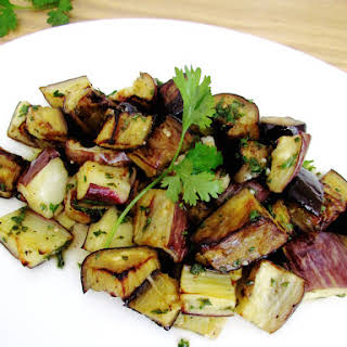Roasted And Marinated Eggplants With Herbs.