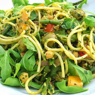 Spaghetti Moroccan Style With Spinach and Walnut Pesto [Vegan, Gluten-Free].