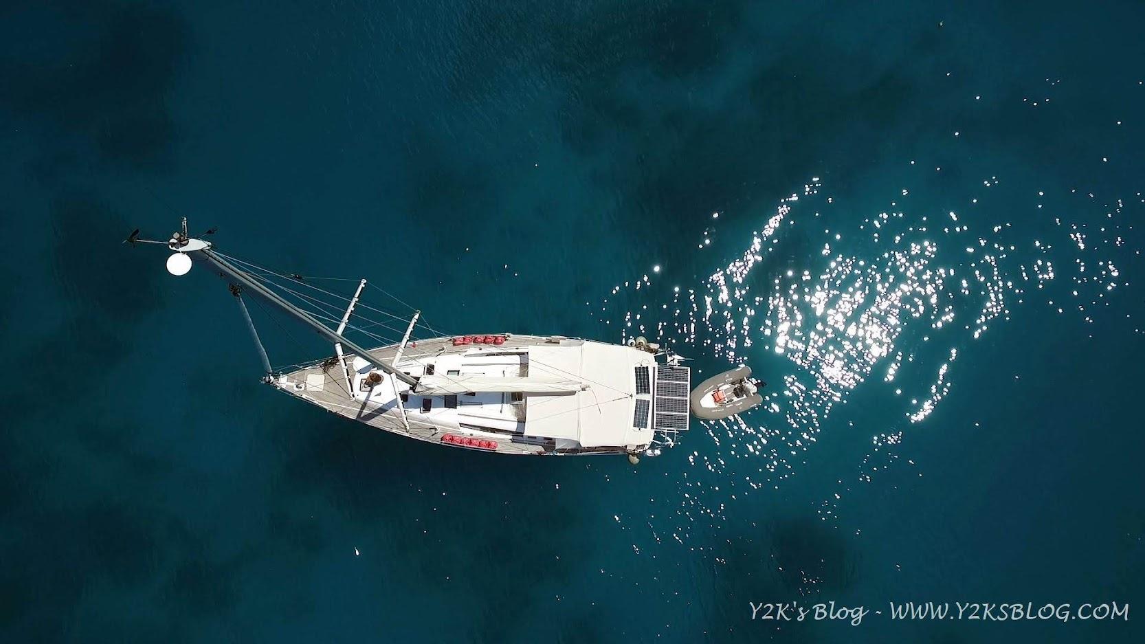 Y2K vista dal drone nell'ancoraggio di Kulo - Vava'u