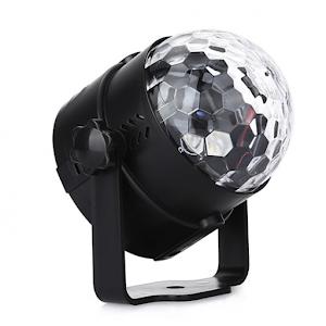 Proiector rotativ LED RGB, 3 lumini, alimentare la priza