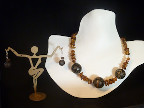 Photo: <BEREHYNYA> {Great Goddess Protectress} unique one-of-a-kind statement jewellery by Luba Bilash ART & ADORNMENT  PRIMEVAL WORLD - НЕЗАЙМАНА ЗЕМЛЯ - carved wooden beads, amber, SS  SOLD/ПРОДАНИЙ