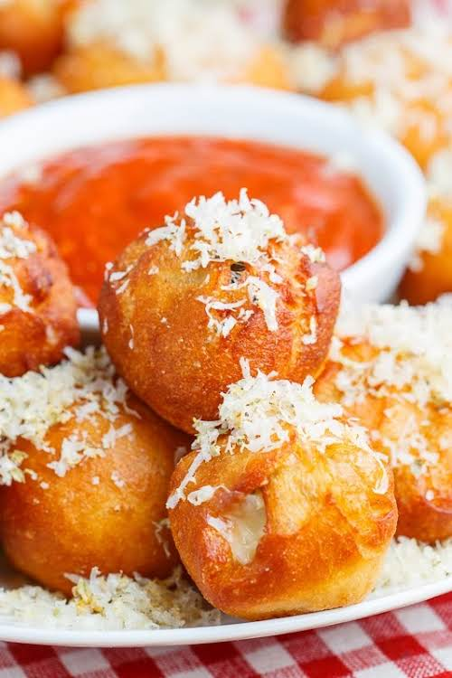 "Pizza Poppers ""All of the flavours of pizza rolled into balls and..."