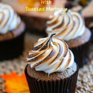 Pumpkin Cupcake Recipe with Toasted Meringue Icing