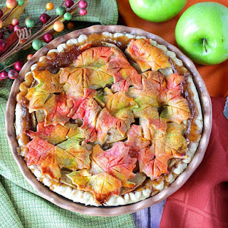 Delightfully Colorful Autumn Leaves Crusted Apple Pie.