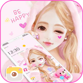 Pink Cartoon Lovely Girl Theme