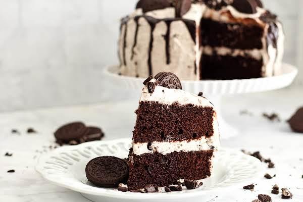 A Slice Of Chocolate Fudge Oreo Cake.