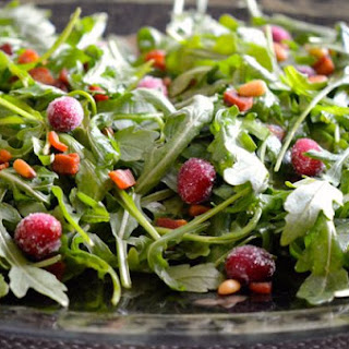 Arugula with Sugared Cranberries and Pancetta