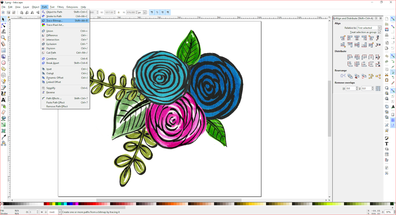 A screenshot of flowers in inkscape.