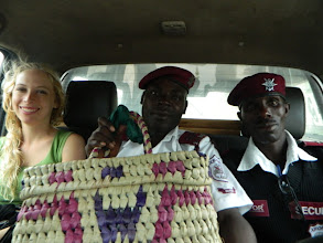 Photo: Heading to community with Morgan Richards and a security escort holding the Bangla-Pesa Basket.http://koru.or.ke