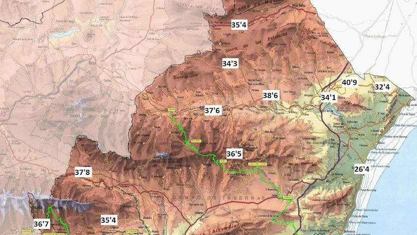 Los valles del Río Adra, Andarax, Nacimiento o Almanzora, los más 'calientes'. E. Romay
