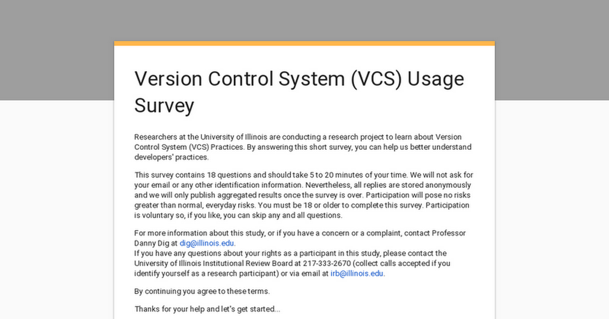 Version Control System (VCS) Usage Survey