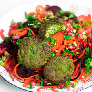 Pea Patties with a Beetroot Carrot Salad