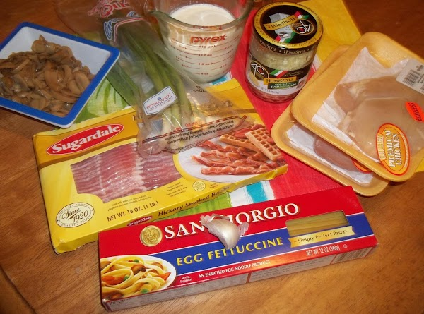Gather ingredients  Cook fettuccine according to directions on the package.