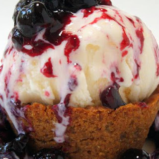 Blueberry-Lavender Sauce and Ginger Snap Ice Cream Cups