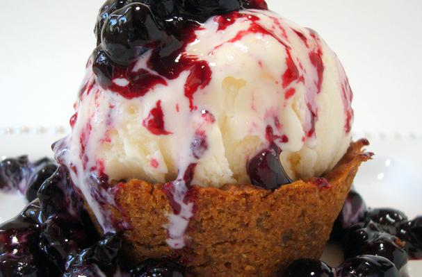 Blueberry-Lavender Sauce and Ginger Snap Ice Cream Cups Recipe