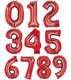 Folieballong siffra, röd