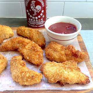 Chicken Fingers with Tangy Sriracha Ketchup.