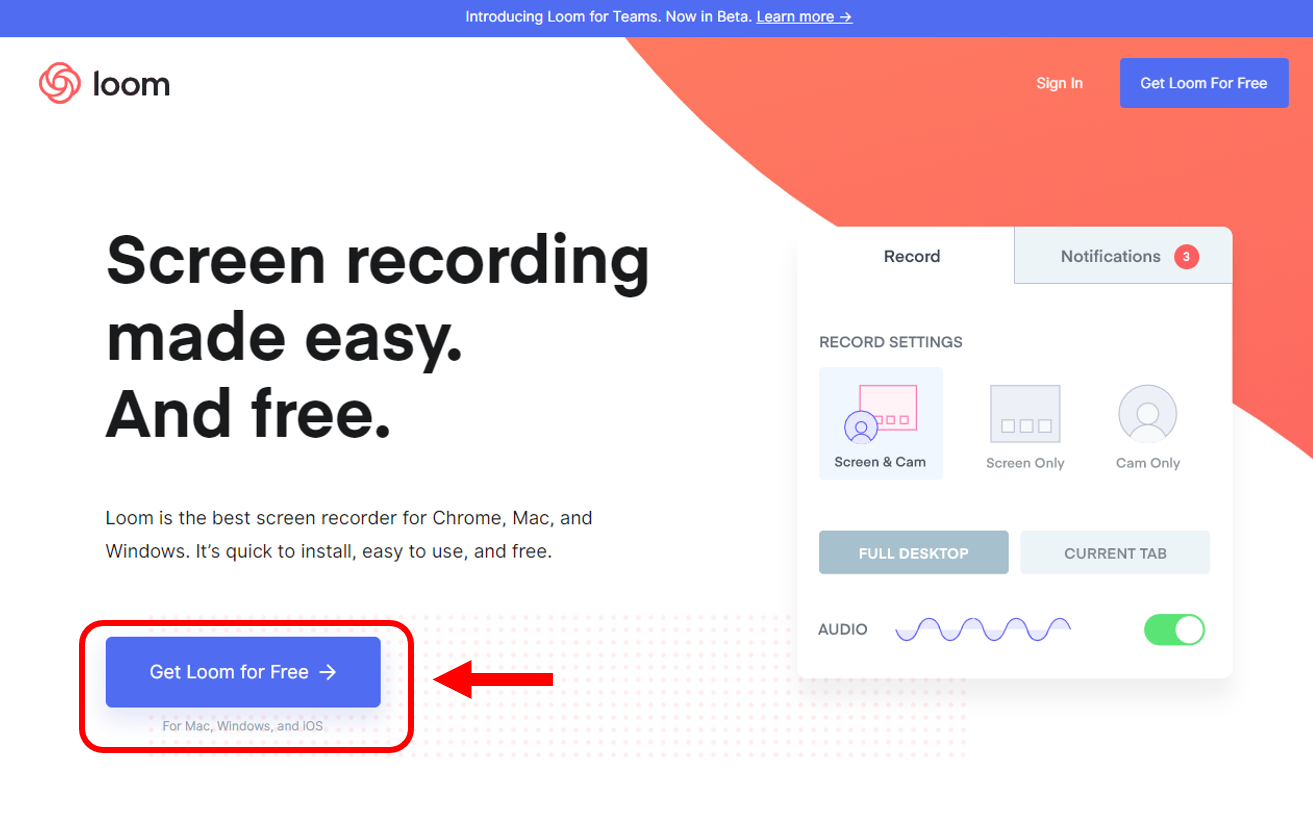 Loom screen recording landing page to use with online whiteboard