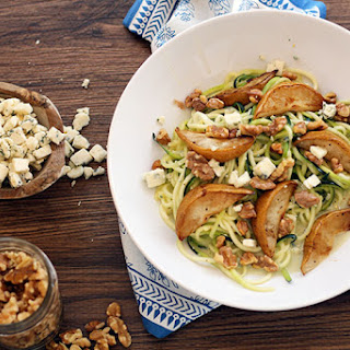 Cheesy Gorgonzola Zucchini Pasta with Toasted Walnuts and Baked Anjou Pears