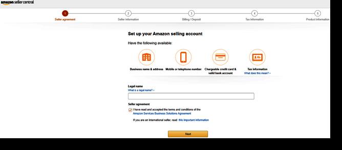 Amazon selling account