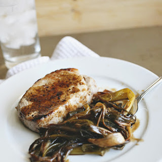 Roasted Scallions with Pork Chops.