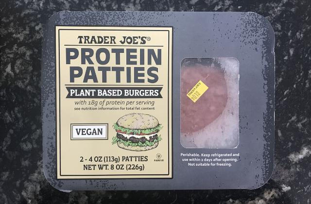 Trader Joe's vegan burger package.