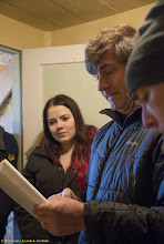Photo: Alex reviews information from the Japanese aurora borealis collecting station, Iceland