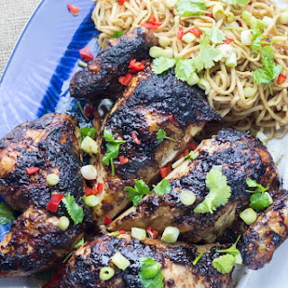Asian Roasted Spatchcock Chicken with Noodle Salad.