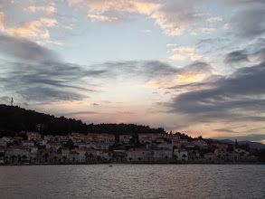 Photo: The sun set beautifully over a more modern part of the town.