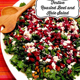 Festive Roasted Beet and Kale Salad (gluten and grain free, dairy free option)